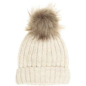 EUC H&M Rib-Knit Beanie with Faux Fur Pom-Pom